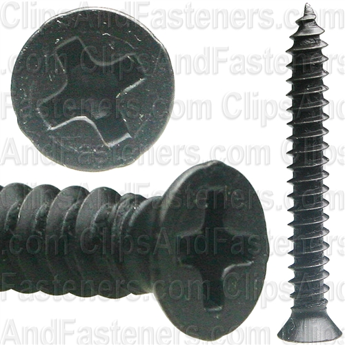 "#8 X 1-1/4"" Phillips Flat #6 Head Tapping Screw Black Oxide"