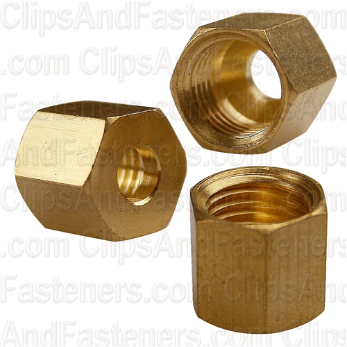 Clipsandfasteners Inc 10 Brass Fitting Compression Nuts 1//4