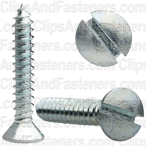 #8 X 1 Slotted Oval Head Tapping Screws Zinc