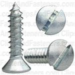 #8 X 3/4 Slotted Oval Head Tapping Screws Zinc