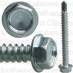 #8 X 1-1/2 Ind Hex Wa Hd #2 Teks Screw - Zinc