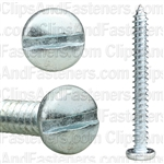 "#10 X 1-3/4"" Zinc Slotted Pan Head Tapping Screws"