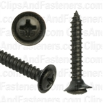 "#8 X 1"" Phillips Oval #6 Head Sems Flush Washer Black Oxide"