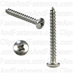 10 X 1 1/2 Phillips Pan Head Tap Screw 18-8
