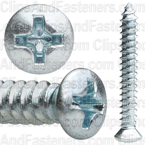 Phillips Oval Tap Screw #8 X 1-1/4 Zinc #6 Head