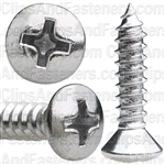 #8 X 3/4 Phillips Oval Head Tap Screw Chrome