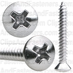 #8 X 1-1/4 Phillips Oval Head Tap Screw Chrome