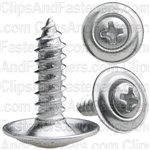 "#8 X 5/8"" Phillips Oval #6 Head Sems Countersunk Washer Chrome"