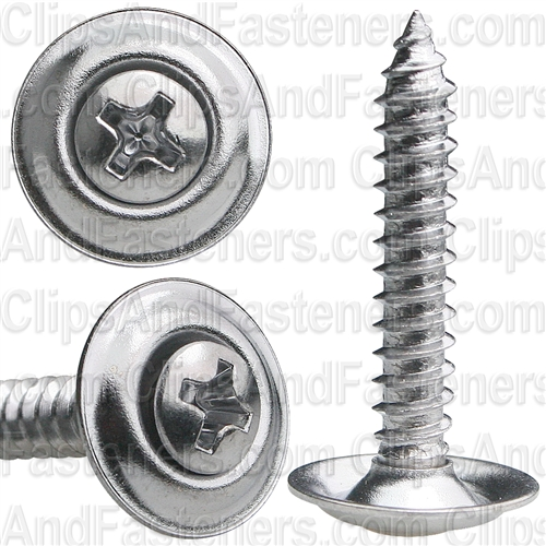 "#8 X 1"" Phillips Oval #6 Head Sems Countersunk Washer Chrome"