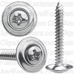 "#8 X 1-1/4"" Phillips Oval #6 Head Sems Countersunk Washer Chrome"