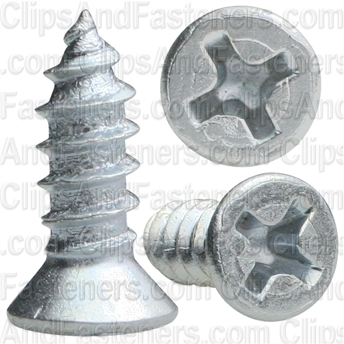 "#8 X 1/2"" Phillips Flat #6 Head Tapping Screw Zinc"