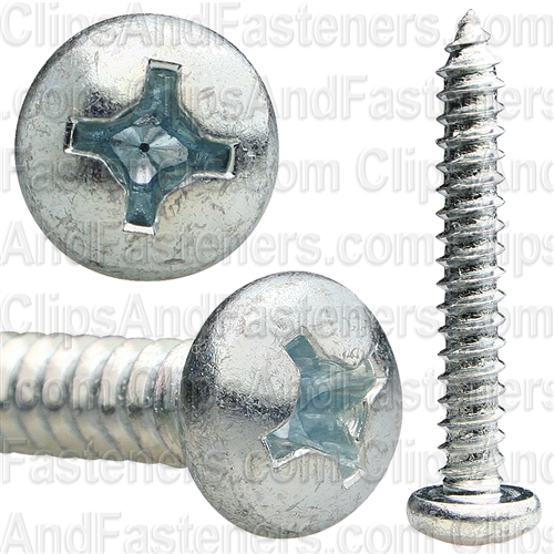12 X 1 1/2 Phillips Pan Head Tap Screw Zinc