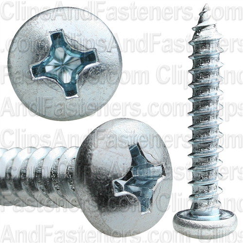 14 X 1 1/2 Phillips Pan Head Tap Screw Zinc
