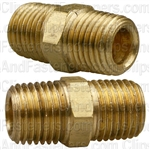 Brass Hex Nipple 1/4 Thread A 1/4 Thread B