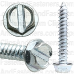 "#8 X 1"" Slotted Hex Head Tapping Screws Zinc"