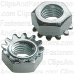 "1/4""-28 Hex Keps Lock Washer & Nut Zinc"