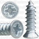 "#6 X 1/2"" Phillips Flat #4 Head Tapping Screw Zinc"