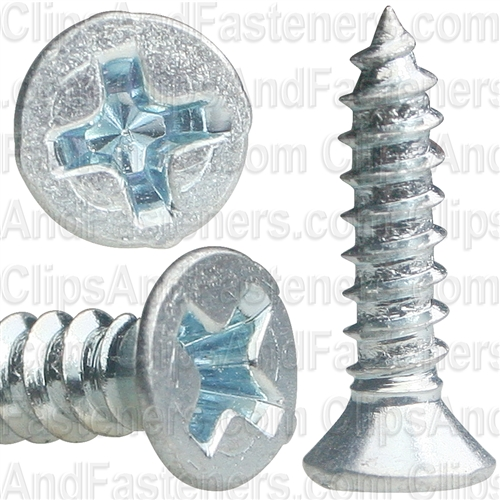 "#6 X 5/8"" Phillips Flat Head Tapping Screw Zinc"