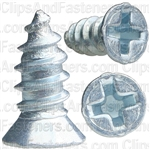 "#8 X 3/8"" Phillips Flat #6 Head Tapping Screw Zinc"