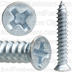 "#8 X 1"" Phillips Flat #6 Head Tapping Screw Zinc"
