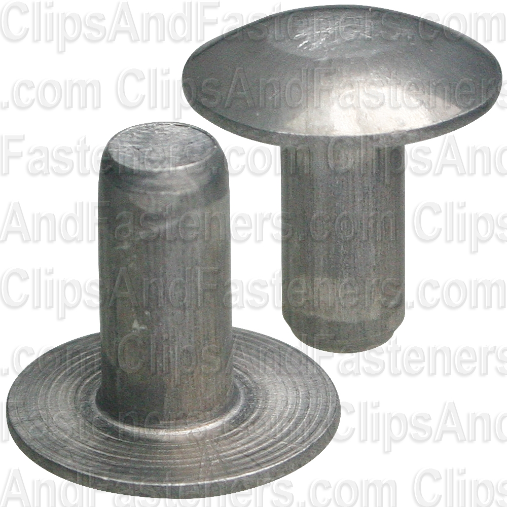 1//8 Diameter X 3//16 Length Plain Finish Pack of 1//2 LB - Approximately 1037 Pieces Solid 1100F Aluminum Brazier Head Rivet