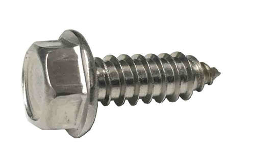 #14 X 3/4 Hex Washer Head License Plate Screw 18-8 Stainless
