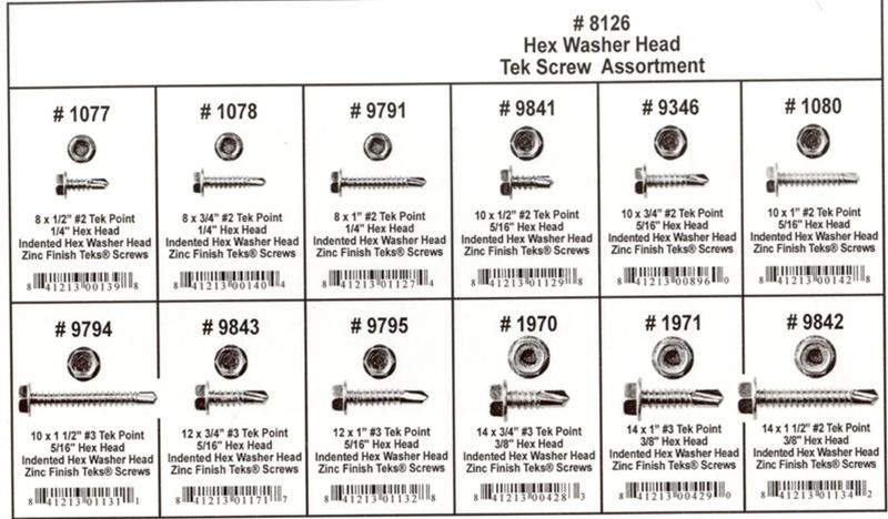 295 Pc Hex Washer Head Tek Screw Assortment