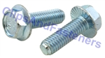 M 6 - 1.0 x 12mm Serrated Hex Flange Bolts, Class 10.9 Zinc.