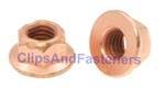 M8-1.25 Flange Exhaust Lock Nut Copper Plated 12mm Hex