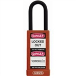 "ABUS Non-Conductive Padlock, Long Body, Red, 1.5"" Shackle, 09885"