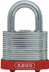 "Steel Laminated Padlock, Red Bumper, 3/4"" Shackle"