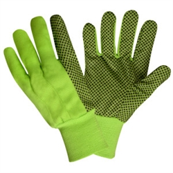 Cordova Hi-Vis Green Garden Gloves, Canvas, Black PVC Dots, Large, 2715L