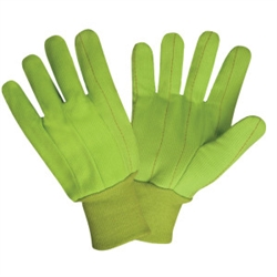 Cordova Hi Vis Green Work Gloves, Cotton/Canvas, 2830CD