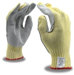 Kevlar and Cotton Plaited Work Gloves, 7 Gauge, Side Split Leather Palm