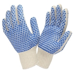 Cordova Poly/Cotton Knit Gloves, Blue PVC Dots 3880