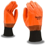 Cordova Hi-Vis Orange Insulated PVC Large Gloves with Knit Wrist