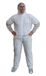 Cordova Heavy Weight White Spunbonded Polypropylene Coveralls COHB55