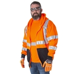 Cordova Cor-Brite Class 3 Hooded Sweatshirt, Orange/Lime
