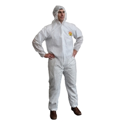Cordova White Disposable Coveralls, Hood SMS300