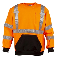 Cordova Cor-Brite Class 3 Crew Neck Sweatshirt, Orange