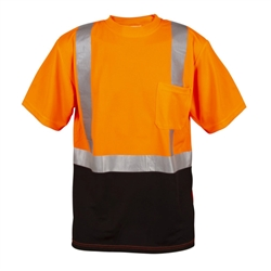 Cordova Class 2 Mesh T-Shirt, Black Bottom, Orange V450