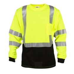 Cordova Class 3 Long Sleeve T-Shirt with Black Bottom, Lime