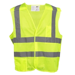 Cordova Class 2 Flame Resistant 5-Point Breakaway Mesh Safety Vest, Lime
