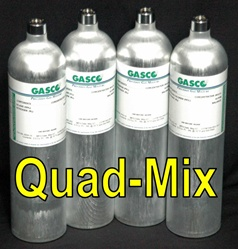Gasco Calibration Gas, Quad-Mix 4 Gas Mixture (LEL/O2/CO/H2S)