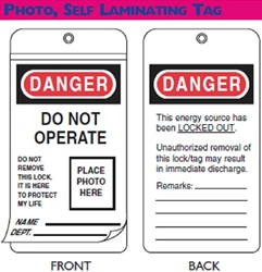 North Lockout Tag, Photo, Self Laminating, EEA303G