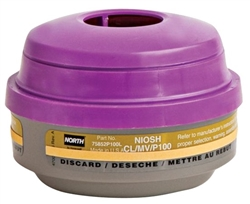 North Respirator Cartridge, Mercury/Chlorine/P100 75852P100L