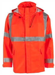 Radians Hi-Vis Rain Jacket, Hood, Orange, PETRO ARC, 207AJ