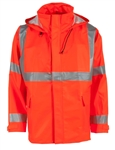 Radians Hi-Vis Rain Jacket, Hood, Orange, FLEX ARC, 217AJ