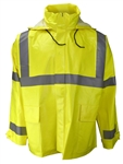 Radians Class 3 Rain Jacket, Hood, Lime, DURA ARC, 227AJ