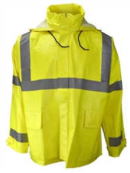 Radians Class 3 Rain Jacket, Hood, Lime, ARC 227AJ